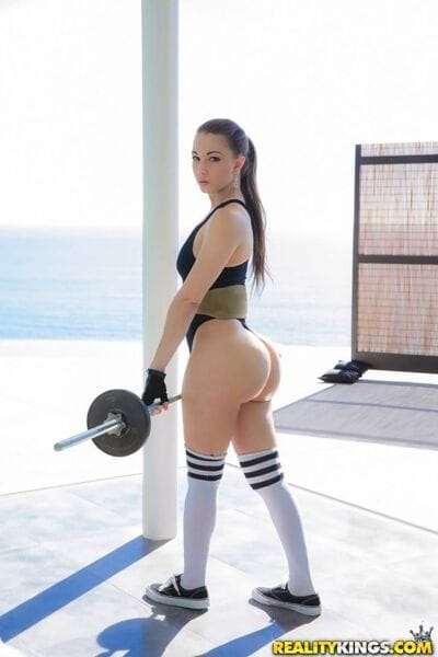Latina fitness girl in socks..